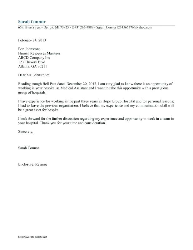 medical assistant cover letter sample – promisedesign