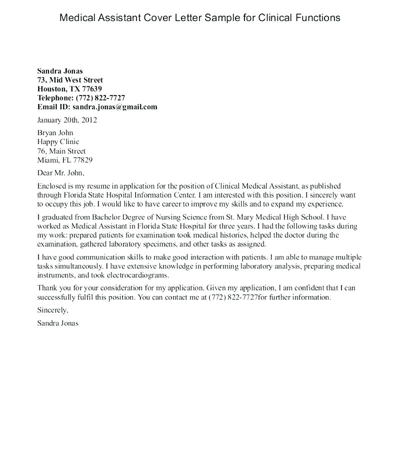 Medical Assistant Cover Letter Sample Gallery Assistant ...
