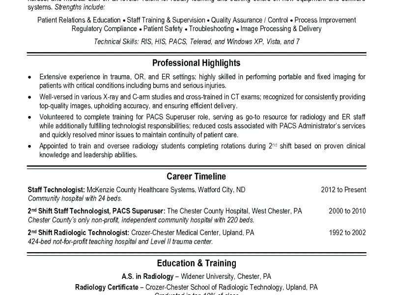 Radiologist Resume Radiographer Resume Samples Radiology Technician