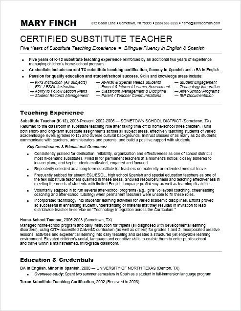 sample resume for substitute teacher teacher resume sample a sample